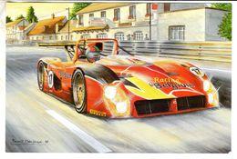 Ferrari 333SP  -  Goossens/Van De Poele/Bachelart  -  24 Heures Du Mans 1996 -  Artwork Benoit Deliege  -   CPM - Le Mans