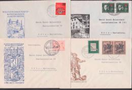 DDR 8 FDC-Briefe Meist SoSt. 300 Jahre Neugersdorf, Je Vom Ersttag, Clara Zetkin, Weltgewerkschafts-KongressHenri Dunant - FDC: Sobres