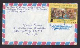 El Salvador: Airmail Cover To USA, 1 Stamp, Painting, History, Value Overprint, Inflation (stamp Damaged: Fold) - El Salvador