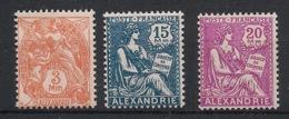 Alexandrie - 1927-28 - N°Yv. 75 - 76 - 77 - 3 Valeurs -Neuf Luxe ** / MNH / Postfrisch - Alexandrie (1899-1931)