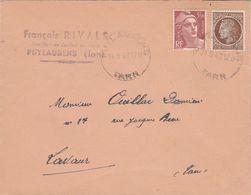 Affranchissement Composé Gandon Mazelin Sur Lettre Cachet Manuel PUYLAURENS Tarn 24/9/1947 Pour Lavaur - 1921-1960: Modern Period