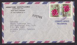 El Salvador: Airmail Cover To USA, 2 Stamps, Rose Flower (minor Discolouring At Back) - El Salvador