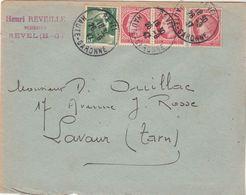 Affranchissement Composé Gandon Mazelin Sur Lettre Cachet Manuel REVEL Haute Garonne 26/9/1947 Pour Lavaur Tarn - Marcophilie (Lettres)