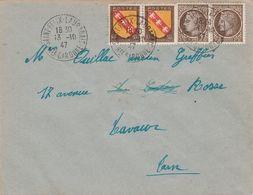 Affranchissement Composé Blasons Mazelin Sur Lettre Cachet ST FELIX LAURAGAIS Haute Garonne 13/10/1947 Pour Lavaur Tarn - Marcophilie (Lettres)