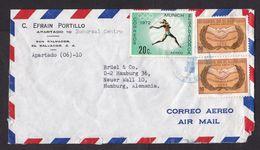 El Salvador: Airmail Cover To Germany, 3 Stamps, Olympics Munich, Javelin, Athletics, Sports (minor Damage) - El Salvador