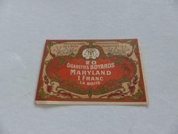 B-68 , Etiquette Cigarettes, Tabacs  , 20 Cigarettes Boyards Marylanf , 1 Franc La Boite - Autres