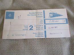 Ticket Chemins De Fer Français Paris - Austerlitz - 1977 - Trenes