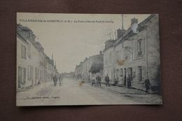 VILLENEUVE-le-COMTE-la Poste Et Rue Du Pont De Couilly-(etat Moyen) - Andere Gemeenten