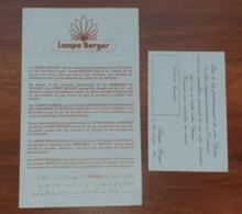 Documents  LAMPE BERGER - Publicité Et Mode D'emploi (plié En Quatre 12.5x11 Cm) Et Bon De Garantie - Années 1980 ? - Documentos Antiguos