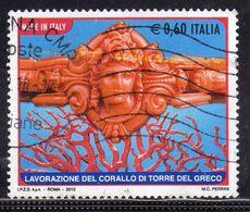ITALIA REPUBBLICA ITALY REPUBLIC 2010 MADE IN ITALY CORALLO DI TORRE DEL GRECO € 0,60 USATO USED OBLITERE' - 6. 1946-.. Republik