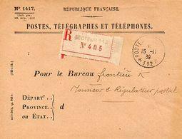 C5   1939   Lettre Postes... SP 112  En Franchise Recommandée Bureau Frontiere K - Guerra De 1939-45