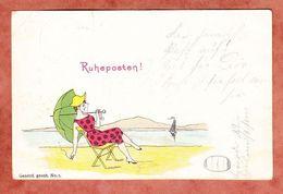 Ruheposten, Rauchende Dame Am Strand, Krone, Dormagen 1899 (95471) - Humour