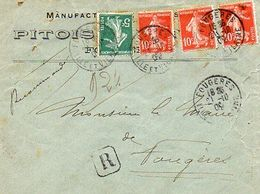 C5   1930 LETTRE Entete Manufacture Pitois A Fougères En Recommandé (mal Ouverte) - Poststempel (Briefe)