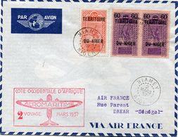 """NIGER LETTRE PAR AVION AVEC CACHET """"COTE OCCIDENTALE D'AFRIQUE 2 VOYAGE MARS 1937"""" DEPART NIAMEY 2 MARS 37 POUR LE...... - Niger (1921-1944)"""