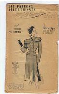 Redingote Croisée En Drap Amazone Noir Ou Marine  Les Patrons Sélectionnés De La Mode Parisienne Année 1930 - Patrons