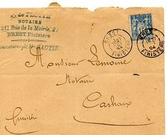 C5   1894 LETTRE Brest Pour Carhaix - 1877-1920: Semi-Moderne
