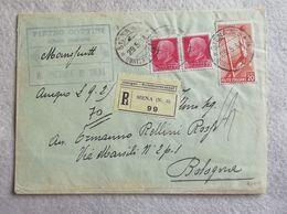 Busta Di Lettera Raccomandata Da Siena Per Bologna 29/05/1934 - Marcophilia