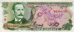 COSTA RICA 5 COLONES 1989 P-236d19   Circ - Costa Rica