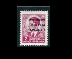 Montenegro 1941 Soprastampato 2 Rosa Lilla  MNH Sassone 4 - 9. Besetzung 2. WK (Italien)