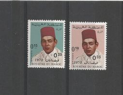 MAROC - TIMBRES SURCHARGES NEUFS** N° 598/599 - 1970 - ROI HASSAN II - VOIR SCAN - Maroc (1956-...)