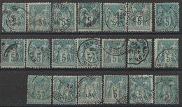 Lot Timbres France Classiques SAGE Type II  N° Yvert 75 De 1876 Oblitérés Cote 20 € - 1876-1898 Sage (Type II)