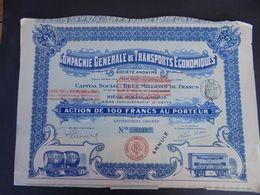 FRANCE - 34 - CETTE 1908 - CIE GENERALE DE TRANSPORTS ECONOMIQUES - ACTION DE 100 FRS - Actions & Titres