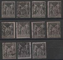 * Lot Timbres France Classiques SAGE Type I  N° Yvert 103 De 1898 Oblitérés Cote 110 € - 1876-1898 Sage (Type II)