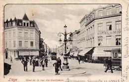 Liège Haut De La Rue Des Guillemins.Animation Et Trams - Luik