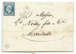 N° 14 BLEU LAITEUX NAPOLEON SUR LETTRE / CORTE POUR MARSEILLE / 15 DEC 1854 / PC 967 IND 6 / NOILLY - 1849-1876: Classic Period