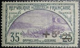 France Y&T N°166 Tranchée Et Drapeau +5c Sur 35c+25c Ardoise Et Violet. Neuf* Gomme - Unused Stamps