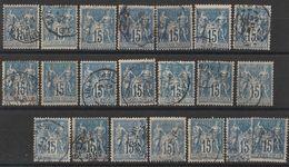 * Lot Timbres France Classiques SAGE Type II  N° Yvert 101 De 1892 Oblitérés Cote 42 € - 1876-1898 Sage (Type II)
