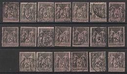 * Lot Timbres France Classiques SAGE Type II  N° Yvert 97 De 1886 Oblitérés Cote 40 € - 1876-1898 Sage (Type II)