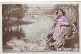 "CARTE FANTAISIE. CPA ."" 1er AVRIL"". FILLETTE MESSAGERE DU PRINTEMPS.  . ANNEE 1909 - 1er Avril - Poisson D'avril"