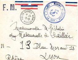 C5 1939 Lettre En FM Poste Navale Bureau 21 Manque Rabat Au Dos - Postmark Collection (Covers)