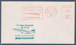 Concorde Air France Flamme Affranchissement Mécanique Francfort 29.11.72, 10 Ans Dans La Lignée Air France - Concorde