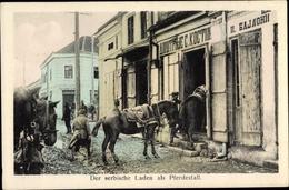 Cp Serbien, Deutsche Soldaten, Laden Als Pferdestall - Servië
