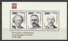 Poland 1988 Mi Bl 107 Fi Bl 137 MNH ( ZE4 PLDbl107 ) - Muziek