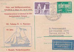 100 TODESTAG DR A PETERMANN. 110 JAHRE DEUTSCHE NORDPOLAREXPEDITION. ALLEMAGNE DDR ENTIER ANNEE 1978 CIRCULEE  -LILHU - [6] República Democrática