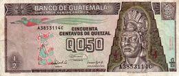GUATEMALA 0,50 QUETZAL 1992 P-72b  Circ  Vf+axf - Guatemala