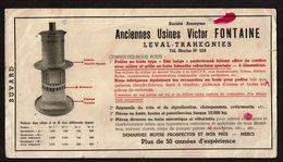 Buvard Publicitaire  22 Cm X 12 Cm - Anciennes Usines Victor FONTAINE - Leval - Trahegnies - 2 Scans - Papel Secante