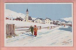 OUDE  POSTKAART - ZWITSERLAND -  SCHWEIZ -       GRAUBUNDEN - ARTIST SIGNED PELLEGRINI - VOUGA  NO. 150 - GR Grisons