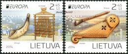 """LITUANIA/ LITHUANIA/ LITAUEN - EUROPA 2014-TEMA ANUAL  """" INSTRUMENTOS MUSICALES NACIONALES""""-  SERIE De 2 V. - Europa-CEPT"""