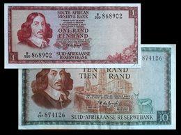 # # # Paar ältere Banknoten Aus Südafrika (South Africa) 1 + 10 Rand # # # - Suráfrica