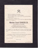 ANVAING Evrard GANDIBLEU Veuf LHOIR Fonctionnaire SNCB 1862-1946 Né à Quaregnon LOCOGE - Obituary Notices