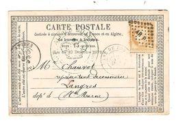REF1403/ TP 55 S/CP écrite De Cantin 24/9/1875 C.Gare De Douai 1875 + PTS AR P > Langres C.d'arrivée - 1849-1876: Période Classique