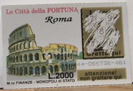 GV-31 GRATTA E VINCI -  LE CITTÀ DELLA FORTUNA -  ROMA COLOSSEO-  BIGLIETTO N° 44-055736-461 - Biglietti Della Lotteria
