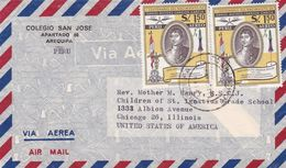 COLEGIO SAN JOSE. PEROU ENVELOPPE COMMERCIAL, CIRCULEE AREQUIPA A CHICAGO ETATS UNIS CIRCA 1957's PAR AVION -LILHU - Peru
