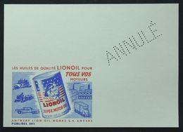 Entiers Postaux - Publibel 2015 Annulé, Lionoil, Huiles Moteurs (Motor Oils - Postal Stationery Cancel) - Postwaardestukken