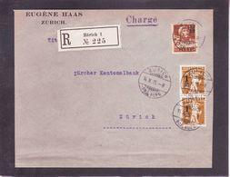 Lettre Recommandée ZürichTimbres Avec Surcharges 1915 - Covers & Documents