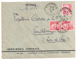 BOURGES  Cher Lettre Entête Imprimerie MAGREAULT Recommandation Provisoire Tampon 3 F Gandon Rose Yv 716 Ob 19 6 1946 - France